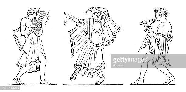 antique illustration of etruscan dancers and musicians - etruscan stock illustrations