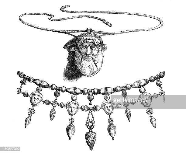 antique illustration of etruscan jewellery - etruscan stock illustrations