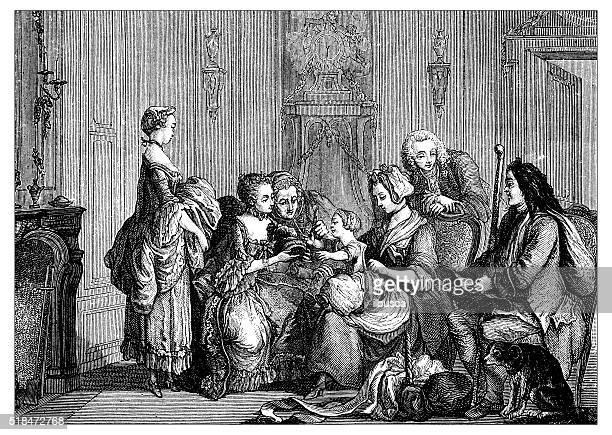 Antique illustration of family