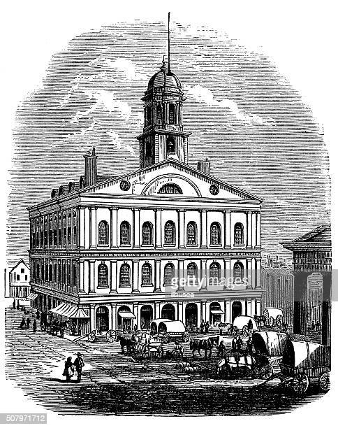 antique illustration of faneuil hall - faneuil hall stock illustrations, clip art, cartoons, & icons