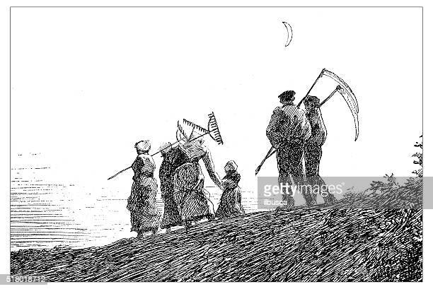 antique illustration of farmers with tools walking toward the city - gardening equipment stock illustrations