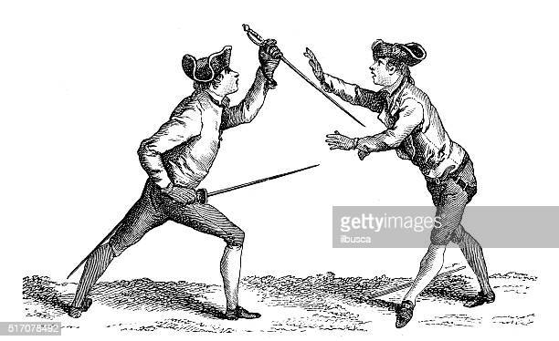 antique illustration of fencing lesson - nice france stock illustrations, clip art, cartoons, & icons