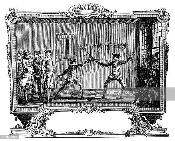 ilustrações de stock, clip art, desenhos animados e ícones de antigo ilustração de esgrima de lições - luta de espadas