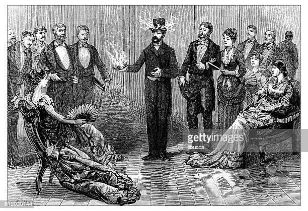 antique illustration of fire show - magician stock illustrations, clip art, cartoons, & icons