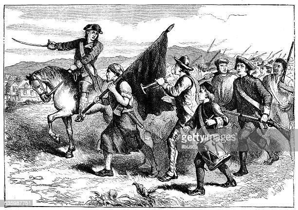 ilustraciones, imágenes clip art, dibujos animados e iconos de stock de ilustración de primera antiguos soldados ejército de la independencia - american revolution