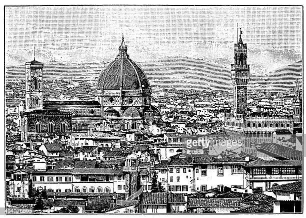 Antique illustration of Florence cityscape
