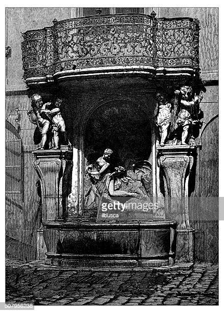 antique illustration of fountain with sculpture of perseus freeing andromeda - mycenae stock illustrations