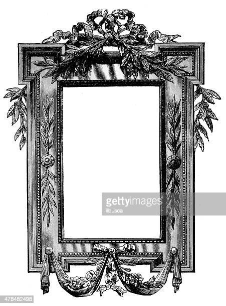 antique illustration of frame - drawing artistic product stock illustrations