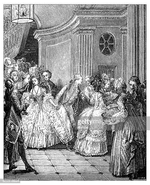 Antique illustration of French 18th century people leaving the theatre