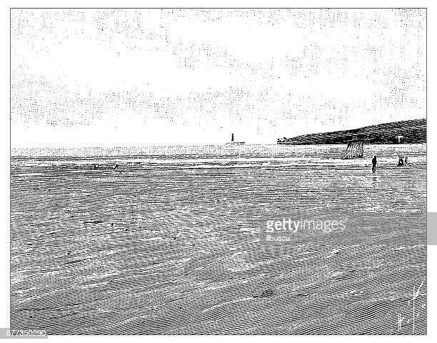 Antique illustration of french beach landscape in Cayeux