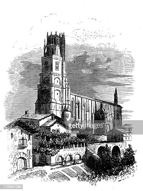 antique illustration of french cathedrals: albi cathedral - midi pyrénées stock illustrations, clip art, cartoons, & icons