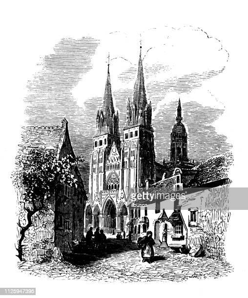 antique illustration of french cathedrals: bayeux cathedral - normandy stock illustrations, clip art, cartoons, & icons