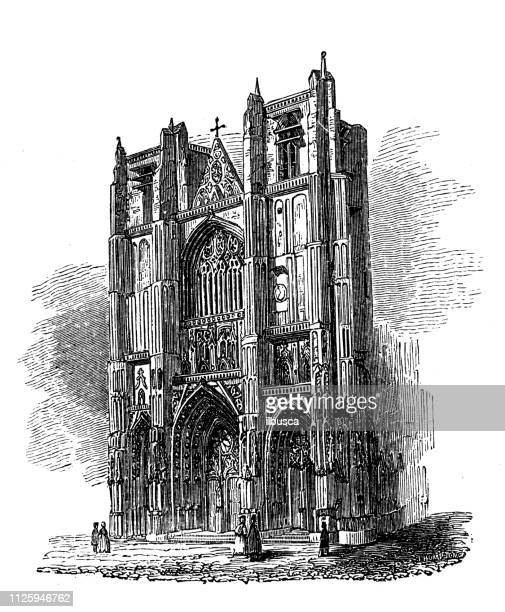 antique illustration of french cathedrals: nantes cathedral - nantes stock illustrations, clip art, cartoons, & icons