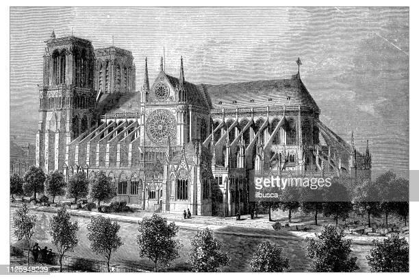 アンティークのフランスのカテドラルの図: ノートルダム ・ ド ・ パリ - パリ ノートルダム大聖堂点のイラスト素材/クリップアート素材/マンガ素材/アイコン素材