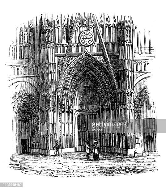 antique illustration of french cathedrals: rouen cathedral - rouen stock illustrations, clip art, cartoons, & icons