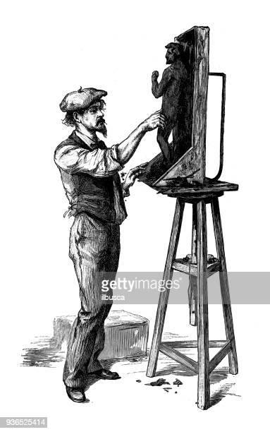 Antieke illustratie van de Franse civiele en militaire scholen: beeldende kunst sculpture