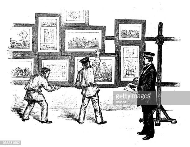 Antique illustration of French civilian and military schools: Fine art paintings