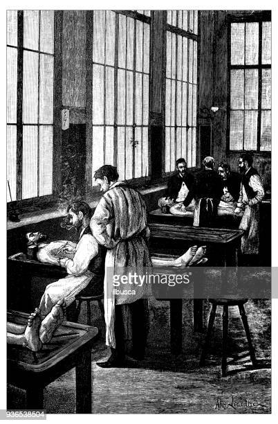 stockillustraties, clipart, cartoons en iconen met antieke illustratie van de franse civiele en militaire scholen: geneeskunde autopsie sectie kamer - autopsy