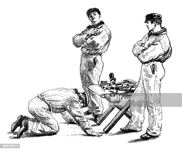 Antique illustration of French civilian and military schools: Navy school sextant worship