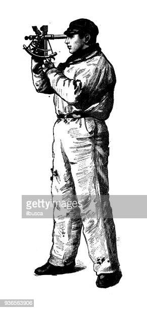 Antique illustration of French civilian and military schools: Navy student with sextant