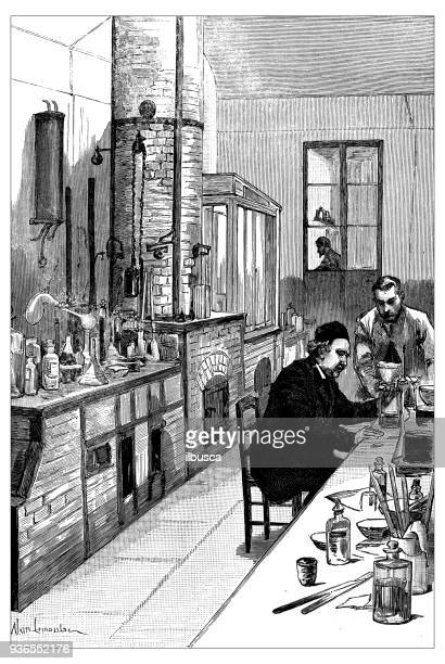 ilustrações, clipart, desenhos animados e ícones de ilustração das escolas francesas de civis e militares da antiguidade: laboratório de química do liceu normal - século xix