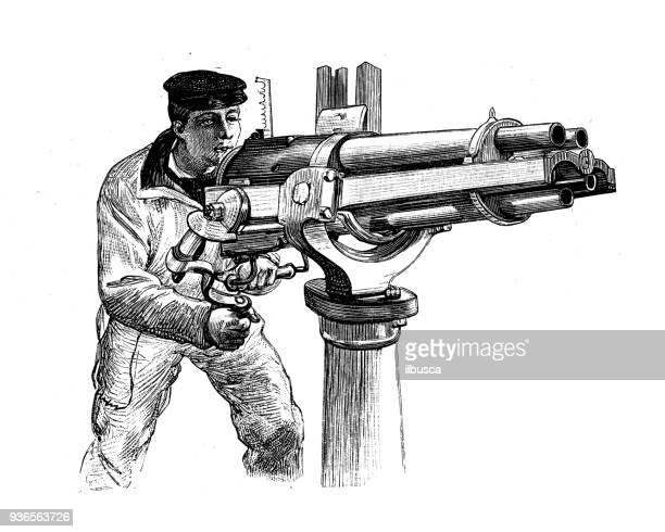 antique illustration of french civilian and military schools: shooting - machine gun stock illustrations, clip art, cartoons, & icons