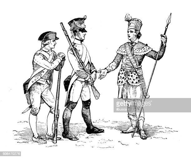 Antique illustration of French civilian and military schools: Special army school old uniforms