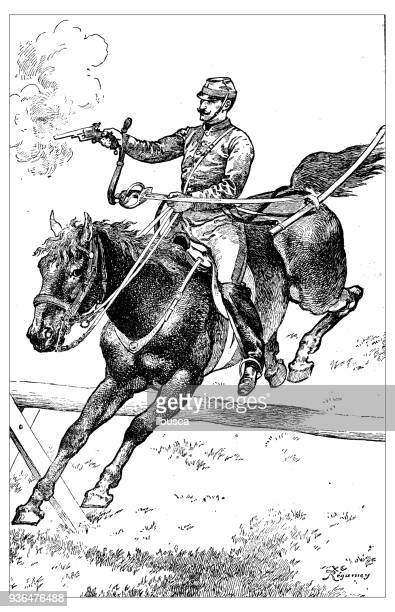 antique illustration of french civilian and military schools: special army school horse - cavalry stock illustrations