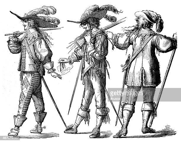 antique illustration of french guards and musketeers - musketeer stock illustrations, clip art, cartoons, & icons