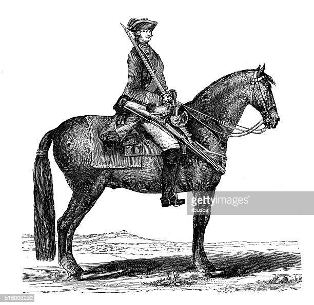 antique illustration of french soldier - cavalier cavalry stock illustrations, clip art, cartoons, & icons