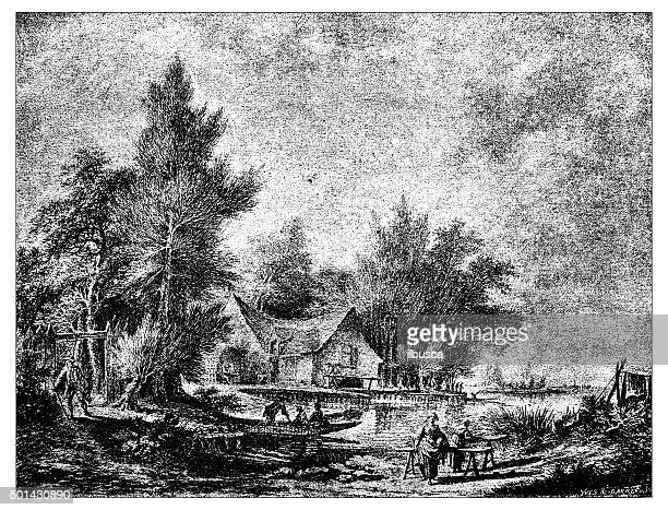 antique illustration of french19th century river landscape - loire valley stock illustrations, clip art, cartoons, & icons