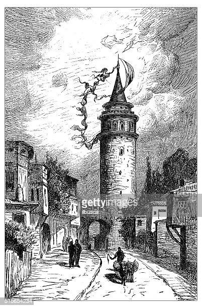 antique illustration of galata tower (istanbul, turkey) - circa 14th century stock illustrations, clip art, cartoons, & icons