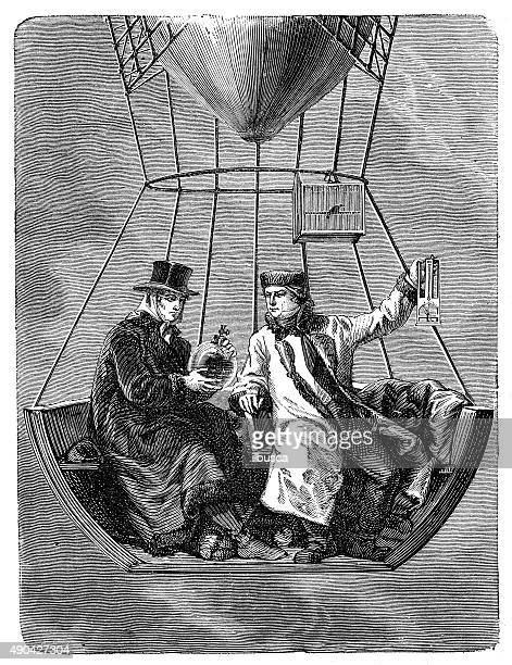 antique illustration of gay-lussac and biot on air balloon - physicist stock illustrations, clip art, cartoons, & icons