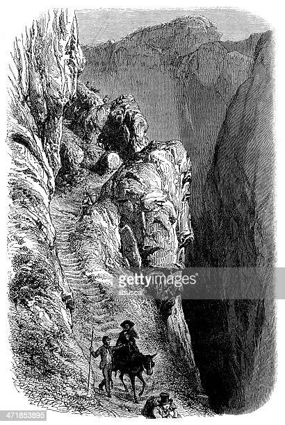 antique illustration of gemmi valley pass - steep stock illustrations, clip art, cartoons, & icons