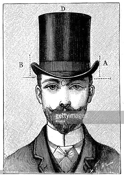 Antique illustration of gentleman hat dimensions