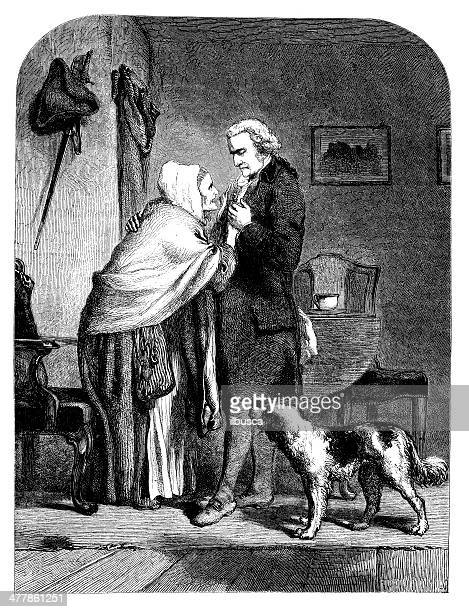 antique illustration of george washington with his mother - us president stock illustrations, clip art, cartoons, & icons