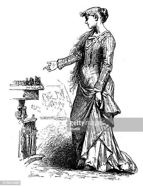 ilustraciones, imágenes clip art, dibujos animados e iconos de stock de anticuario ilustración de niña jugando al ajedrez - tablero de ajedrez
