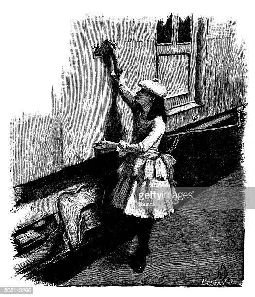 antique illustration of girl sending envelope letter mail - post office stock illustrations, clip art, cartoons, & icons