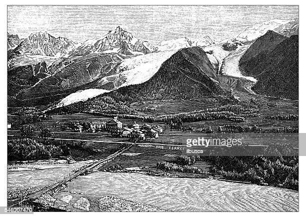 antique illustration of glacier des bossons et de taconnaz - mont blanc stock illustrations, clip art, cartoons, & icons