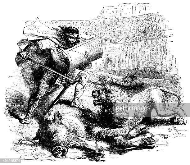 antique illustration of gladiator killing lion - gladiator stock illustrations, clip art, cartoons, & icons