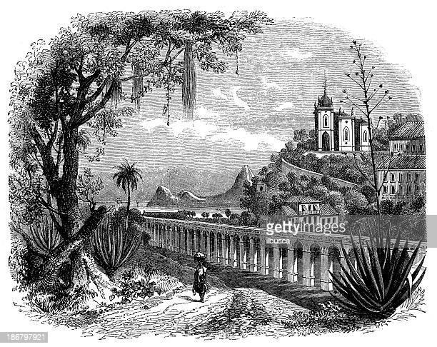 Antique illustration of Gloria Church in Rio de Janeiro, Brasil