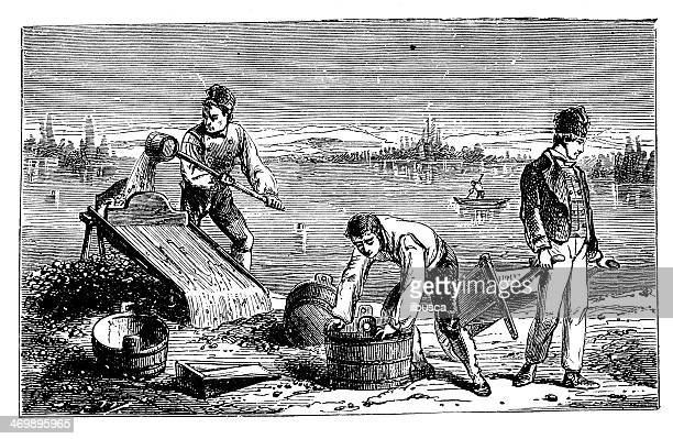 Antique illustration of gold diggers