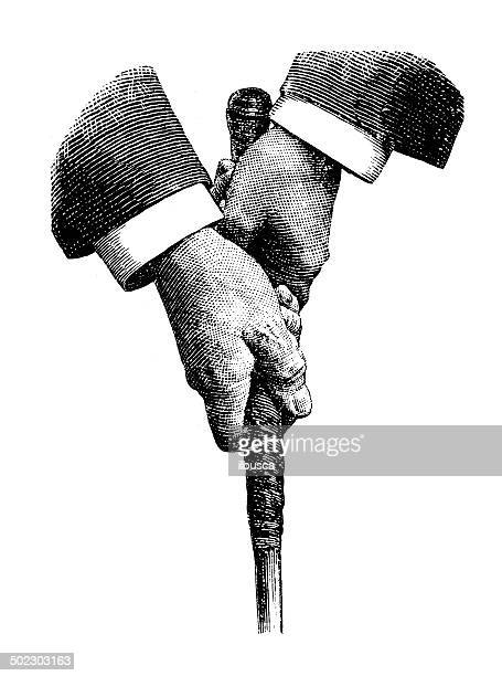 antique illustration of golfer hands - golf swing stock illustrations, clip art, cartoons, & icons