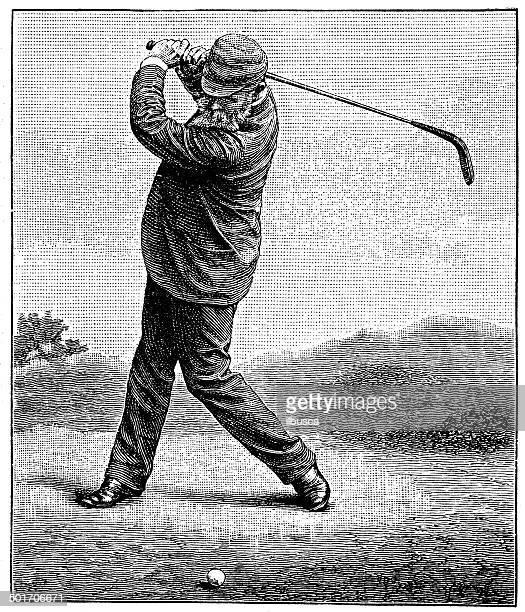 antique illustration of golfer - golf swing stock illustrations, clip art, cartoons, & icons