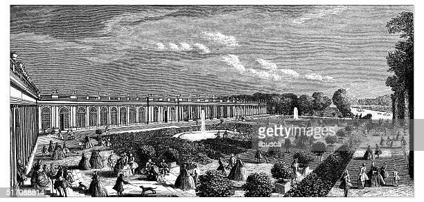 antique illustration of grand trianon - chateau de versailles stock illustrations