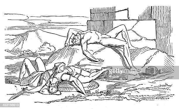 Antique illustration of Greek mythological figures (series 16 engravings)