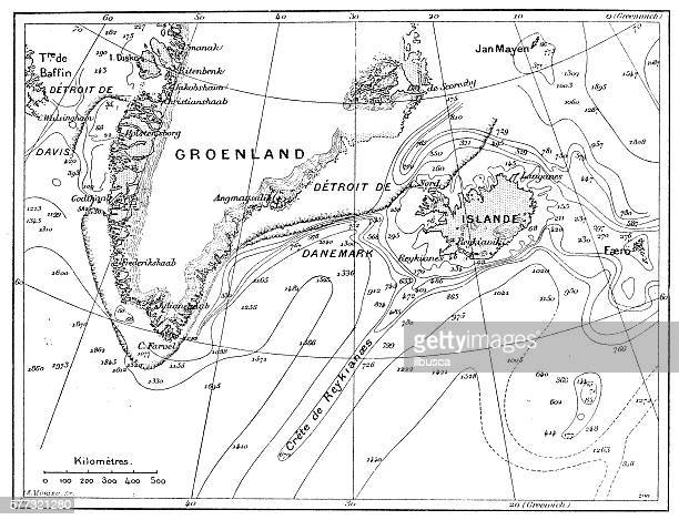 Antique illustration of Greenland and Iceland bathymetry map