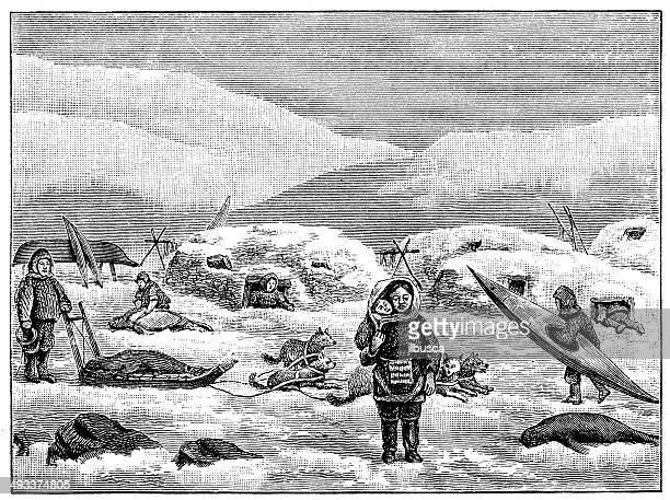 illustrations, cliparts, dessins animés et icônes de ancienne illustration de groenland du groenland personnes - igloo