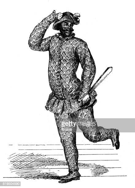 antique illustration of harlequin performing on stage - jester stock illustrations, clip art, cartoons, & icons