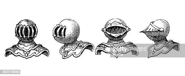 Antique illustration of helms